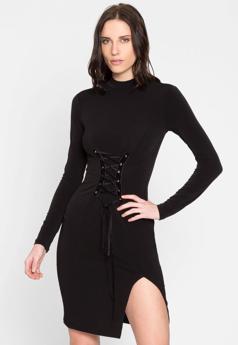 Edgy Lace Up Bodycon Dress - Dresses - Wetseal