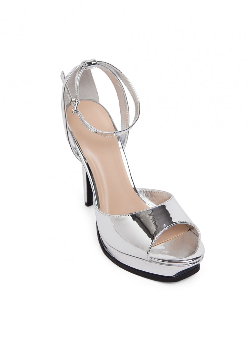 Granted Metallic Ankle Strap Heels - Shoes - Wetseal