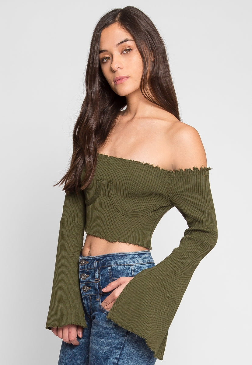Faux Underwire Long Sleeve Top in Olive - Crop Tops - Wetseal