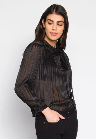 With All Your Heart Sheer Tie Neck Blouse in Black