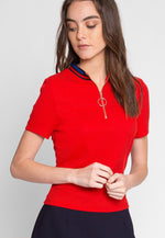 Exuberant Sports Trim Polo Top in Red