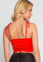 Reveal Tie Front Crop Top in Red