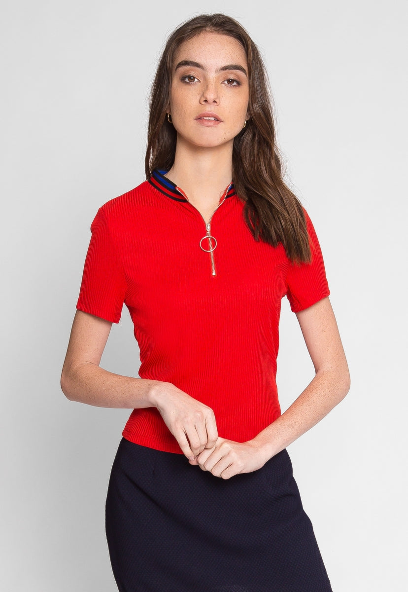 Exuberant Sports Trim Polo Top in Red - Shirts & Blouses - Wetseal