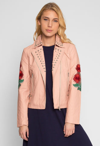 Wilderness Studded Leather Jacket in Blush