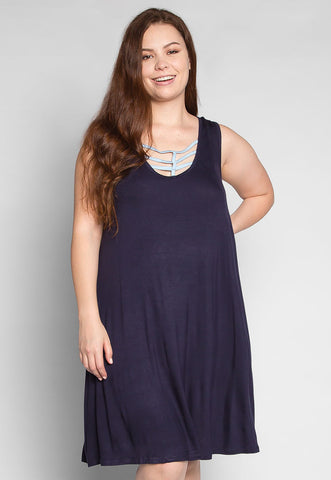Plus Size Love Stories Tank Dress in Navy