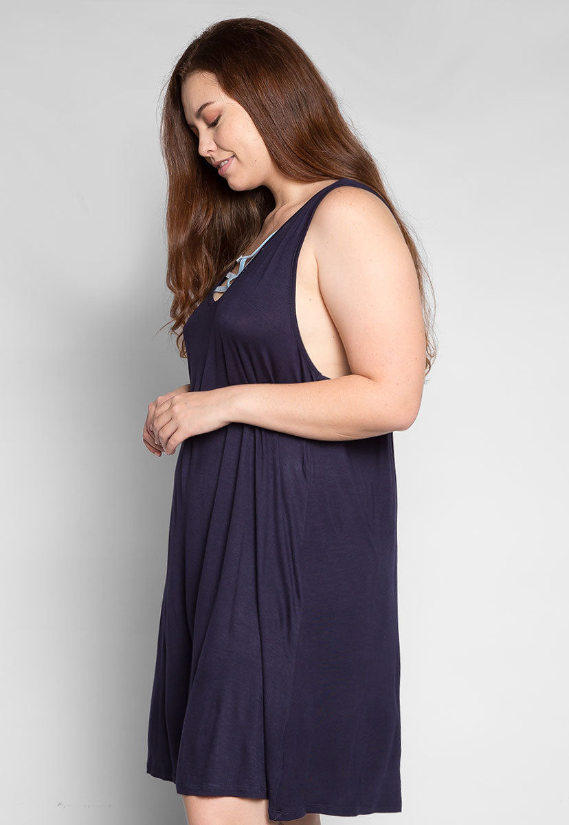 Plus Size Love Stories Tank Dress in Navy - Plus Dresses - Wetseal