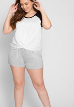Plus Size Ball Park Raglan Crop Top in White