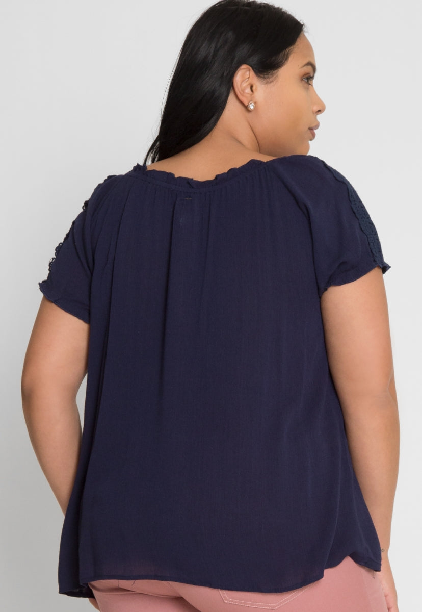 Plus Size Vintage Peasant Blouse in Navy - Plus Tops - Wetseal
