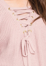 Helen Purl Knit Sweater in Blush