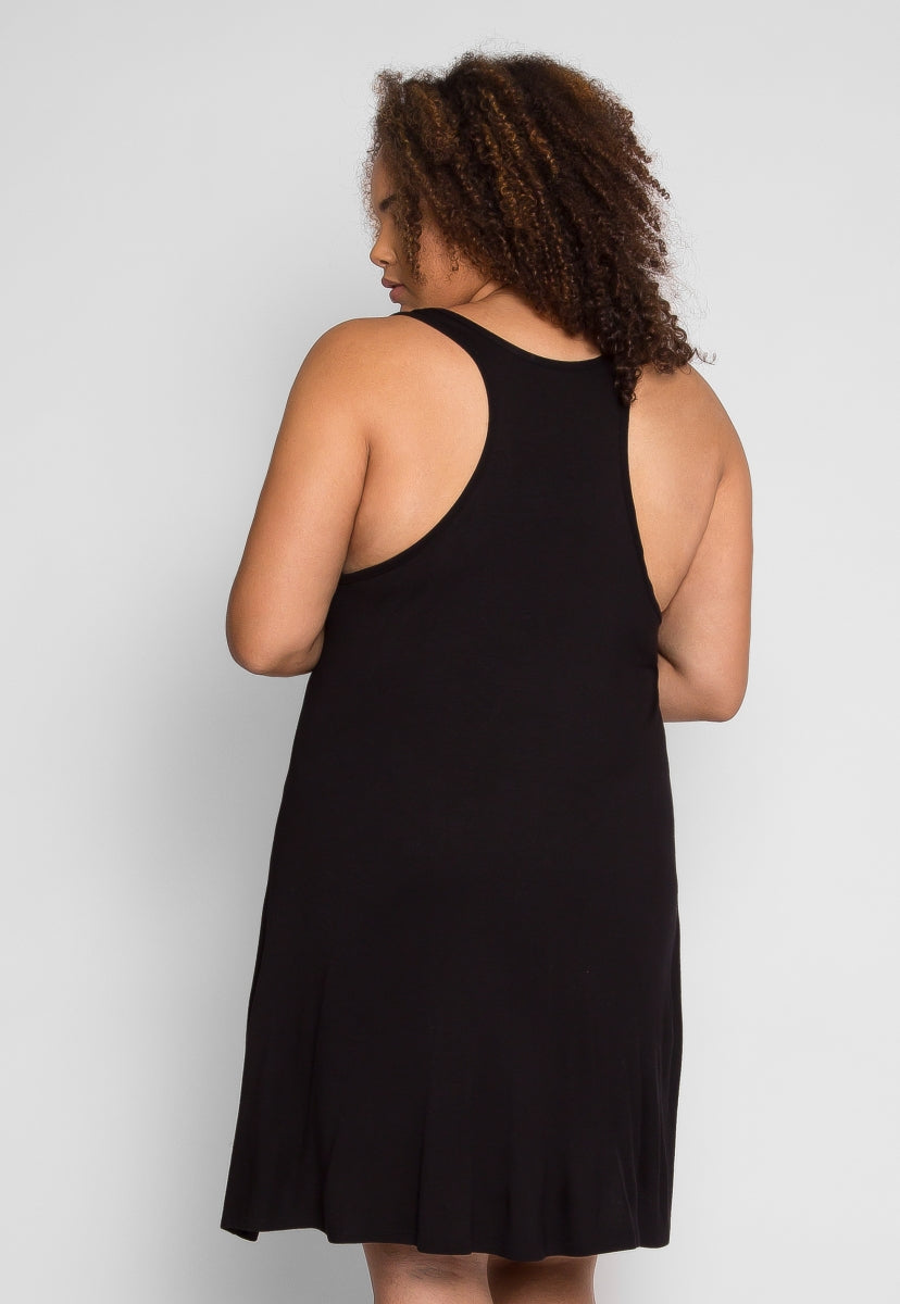Plus Size Screenshot Tank Dress in Black - Plus Dresses - Wetseal