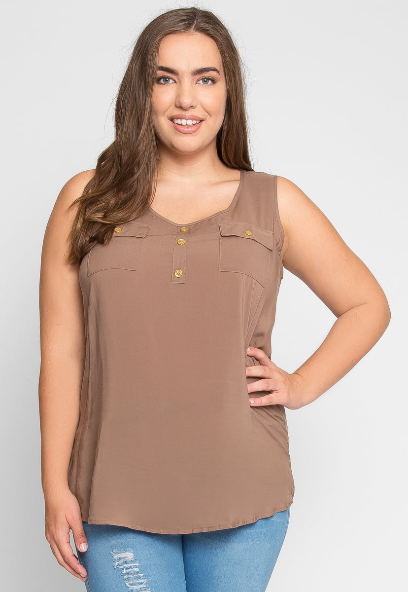 Plus Size Adventures Tank Top in Mocha - Plus Tops - Wetseal