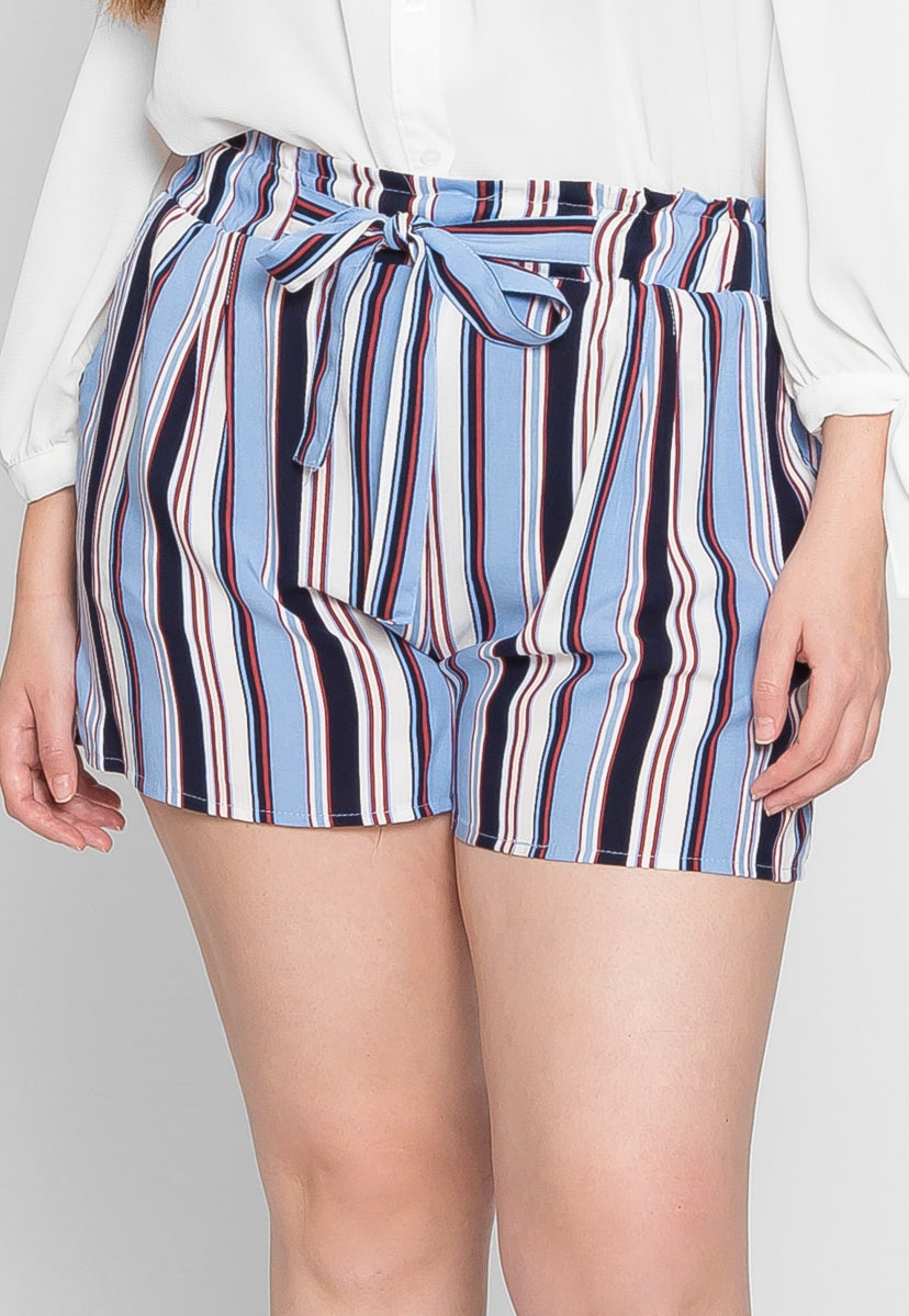 Plus Size Venice Beach Stripe Shorts in Light Blue - Plus Bottoms - Wetseal