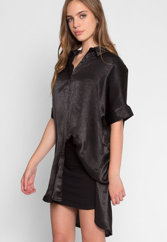 Corset Belt Satin Shirtdress in Black