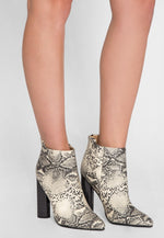Wild Party Snakeskin Ankle Boots