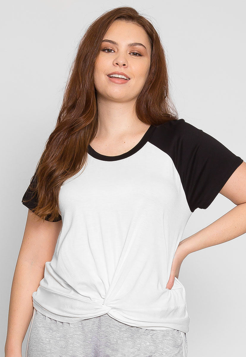 Plus Size Ball Park Raglan Crop Top in White - Plus Tops - Wetseal