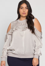 Plus Size Satin Top in Silver
