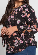 Plus Size Spring Sprung Floral Top in Black