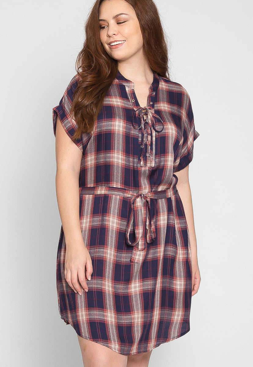 Plus Size Astrid Plaid Dress in Navy - Plus Dresses - Wetseal