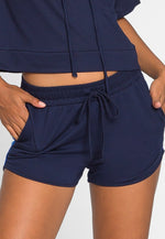 Hills Side Tape Knit Shorts in Navy