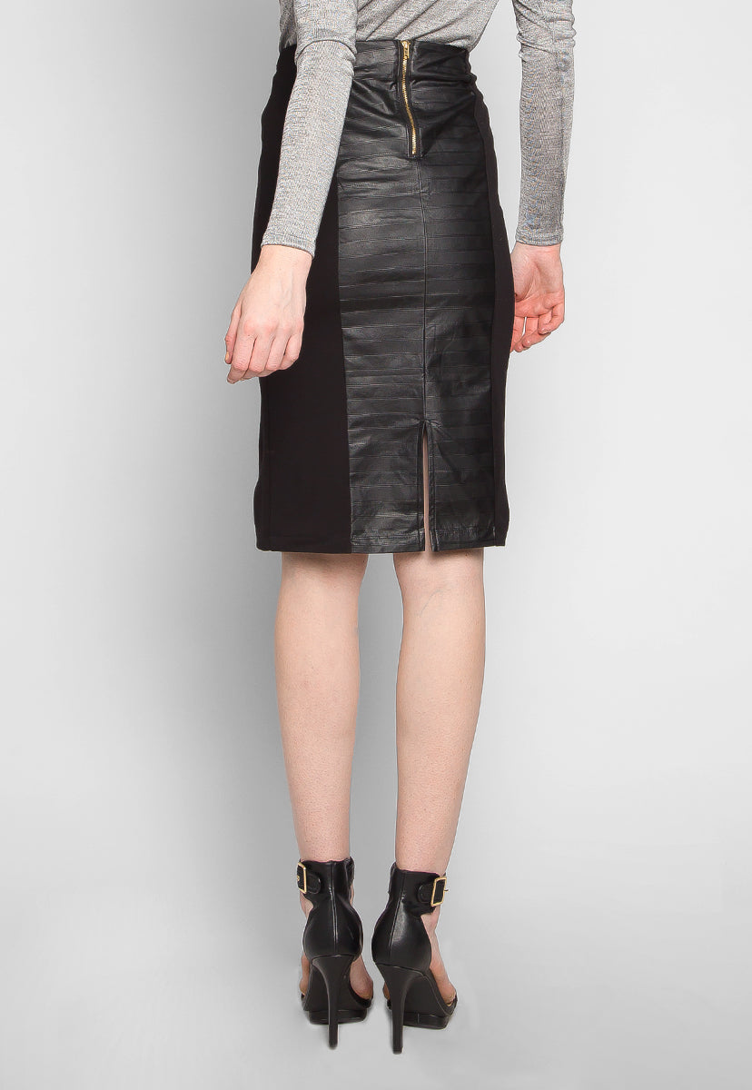 Lost on You Faux Leather Panel Skirt - Skirts - Wetseal