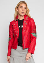Wilderness Studded Leather Jacket in Red