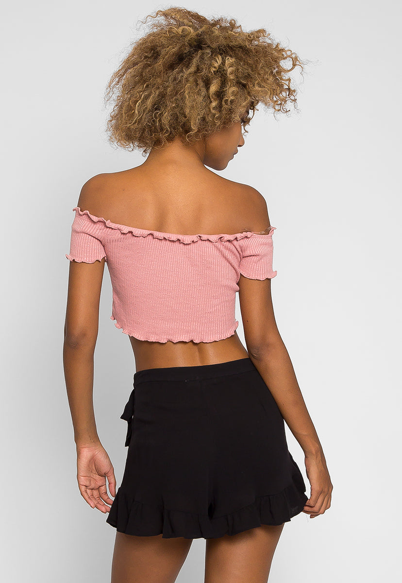 Floral Embroidered Shorts in Black - Short - Wetseal
