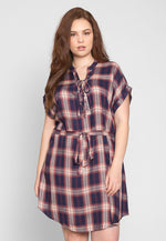 Plus Size Astrid Plaid Dress in Navy