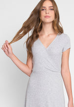 With Love Faux Wrap Dress in Gray