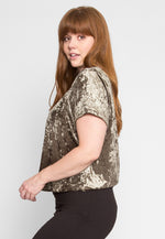 Plus Size Oak Crushed Velvet Top in Olive