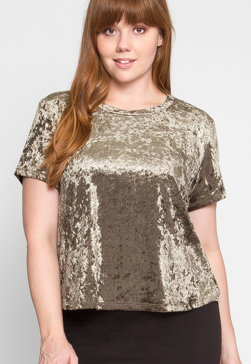 Plus Size Oak Crushed Velvet Top in Olive - Plus Tops - Wetseal