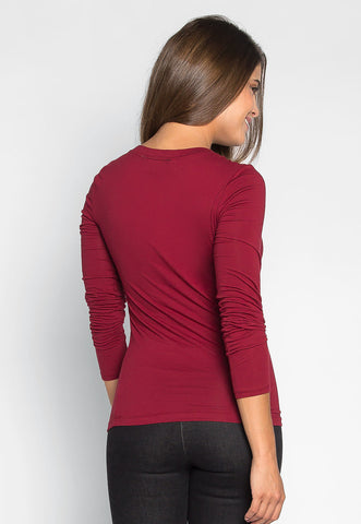 Daydream Long Sleeve Tee in Burgundy