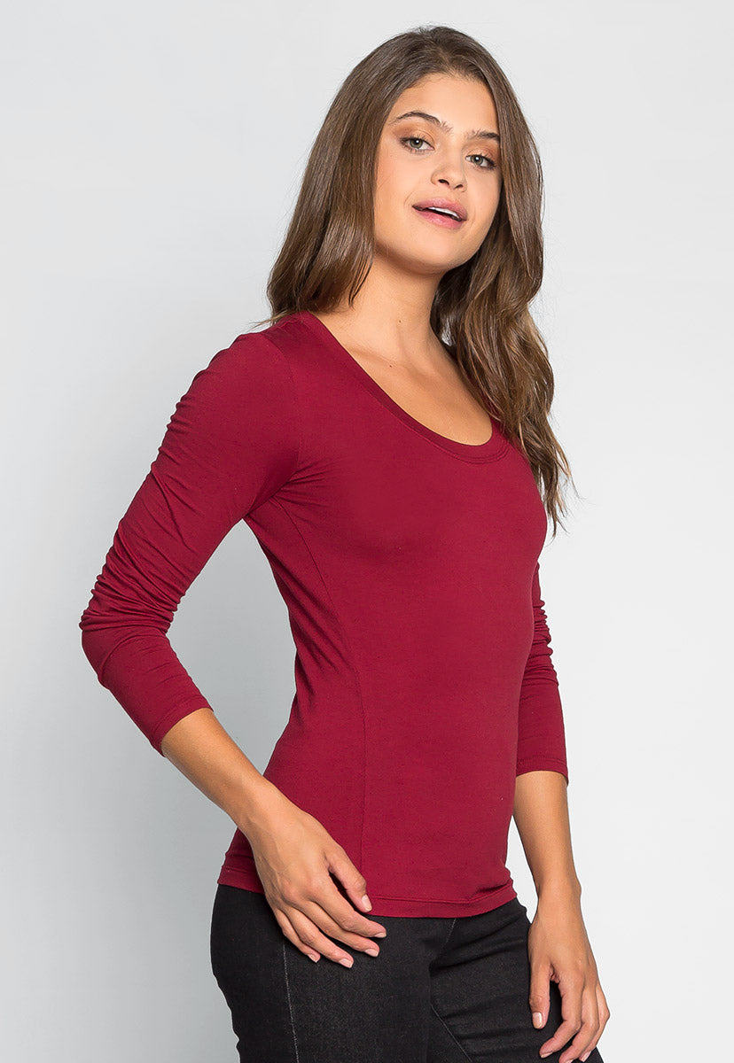 Daydream Long Sleeve Tee in Burgundy - T-shirts - Wetseal