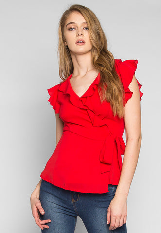 Above the Clouds Ruffle Wrap Blouse in Red