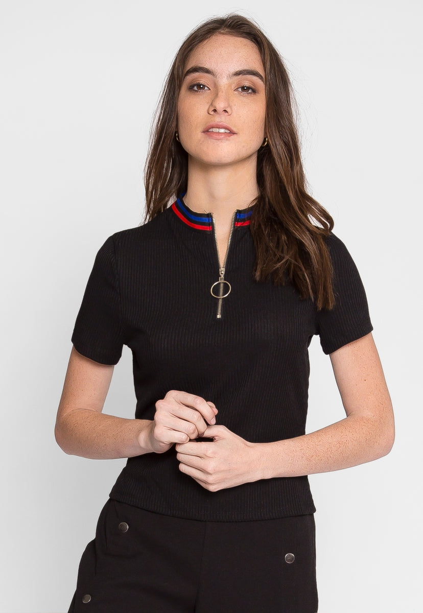 Exuberant Sports Trim Polo Top in Black - Shirts & Blouses - Wetseal