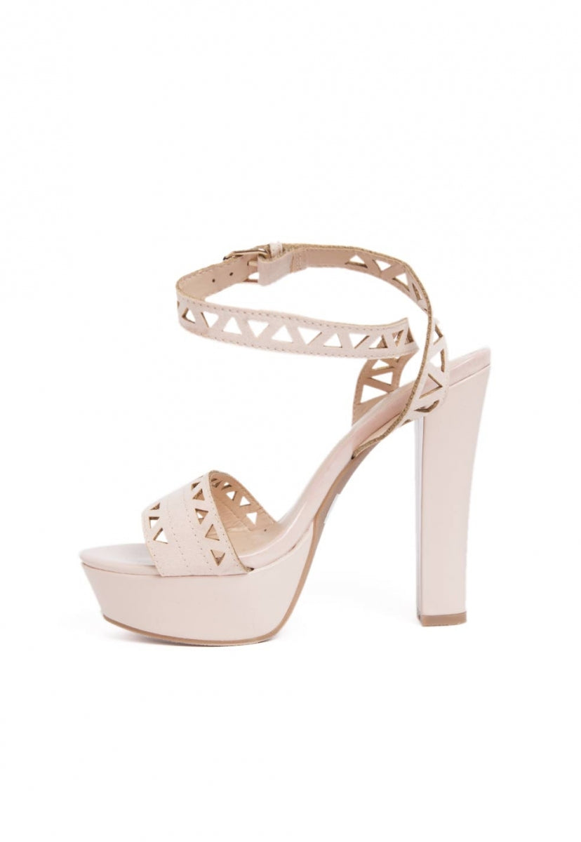 Visions Laser Cut Ankle Heels in Nude - Shoes - Wetseal