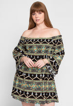 Plus Size Puzzles Boho Off Shoulder Dress