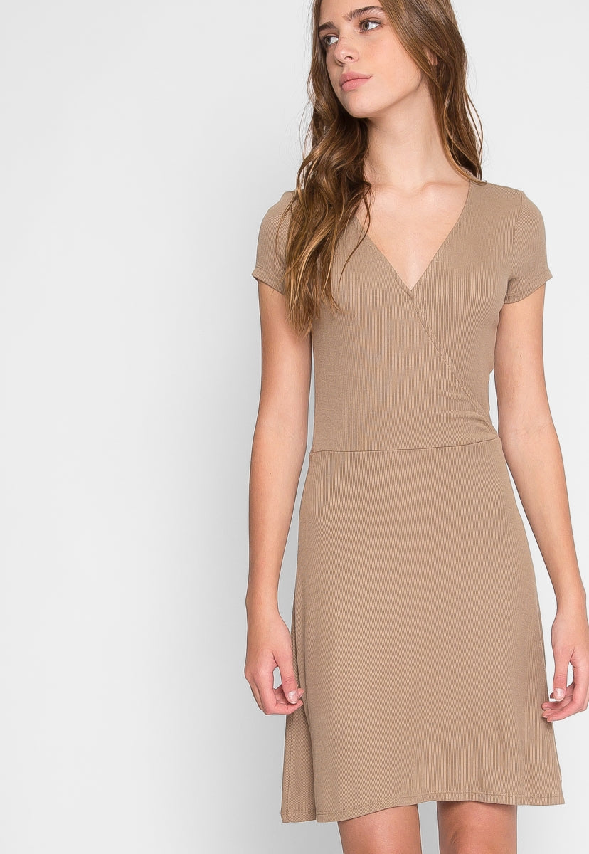 With Love Faux Wrap Dress in Beige - Dresses - Wetseal