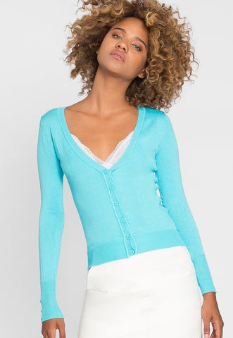 Water Lily V-Neck Cardigan in Aqua