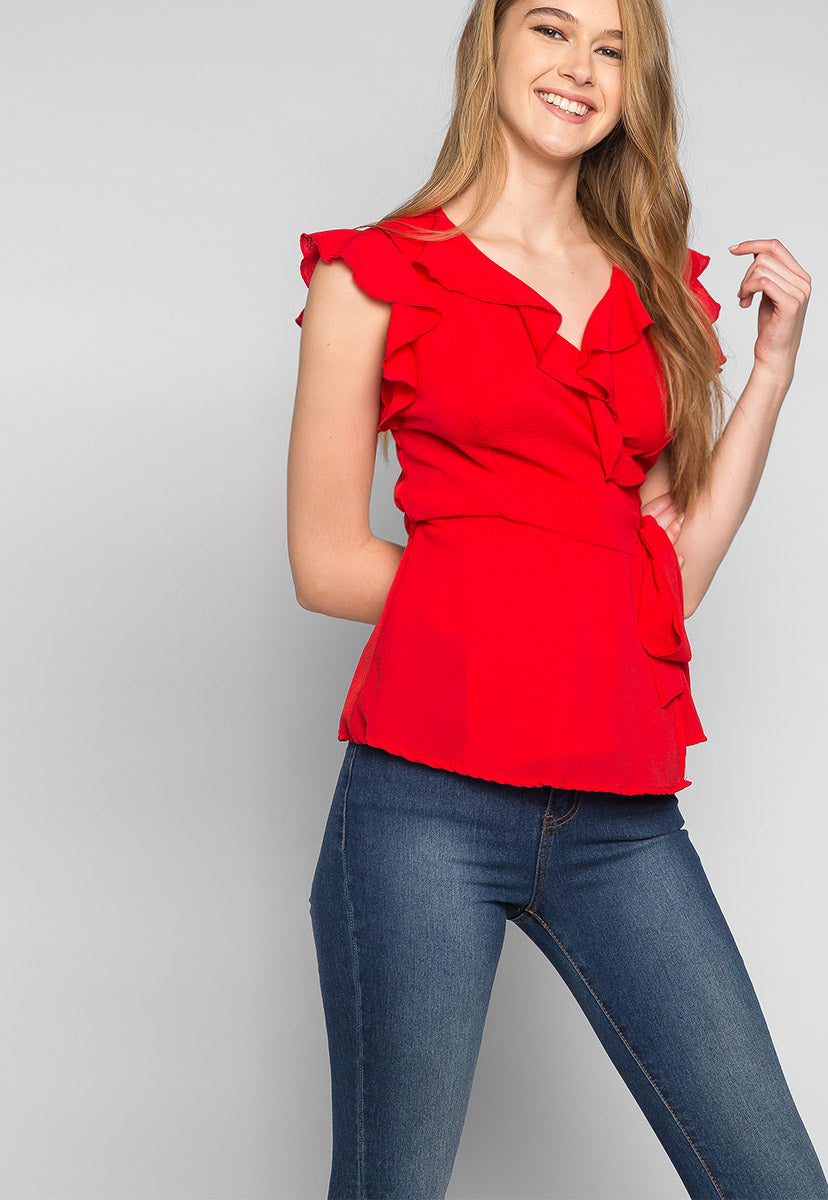 Above the Clouds Ruffle Wrap Blouse in Red - Shirts & Blouses - Wetseal