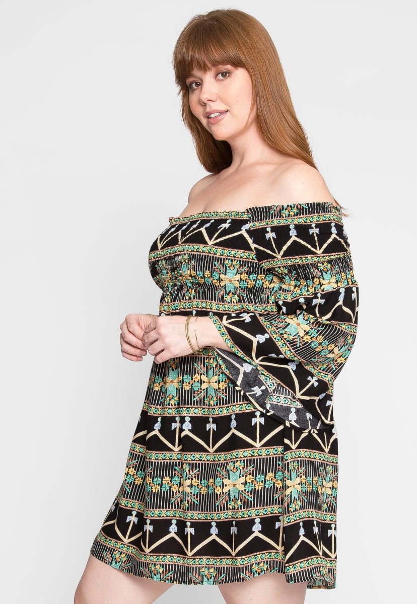 Plus Size Puzzles Boho Off Shoulder Dress - Plus Dresses - Wetseal
