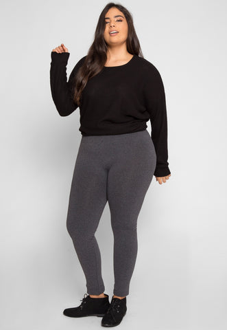 Plus Size High Waist Fleece Leggings in Charcoal