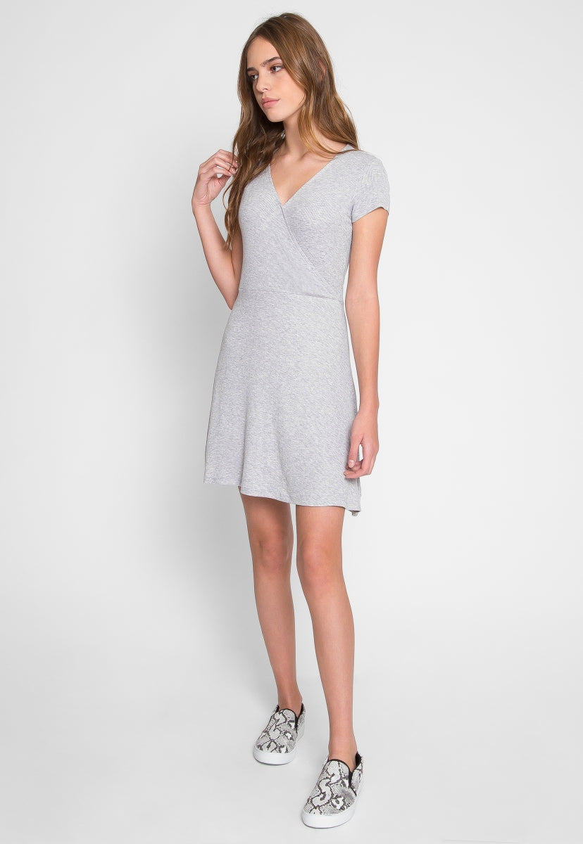 With Love Faux Wrap Dress in Gray - Dresses - Wetseal