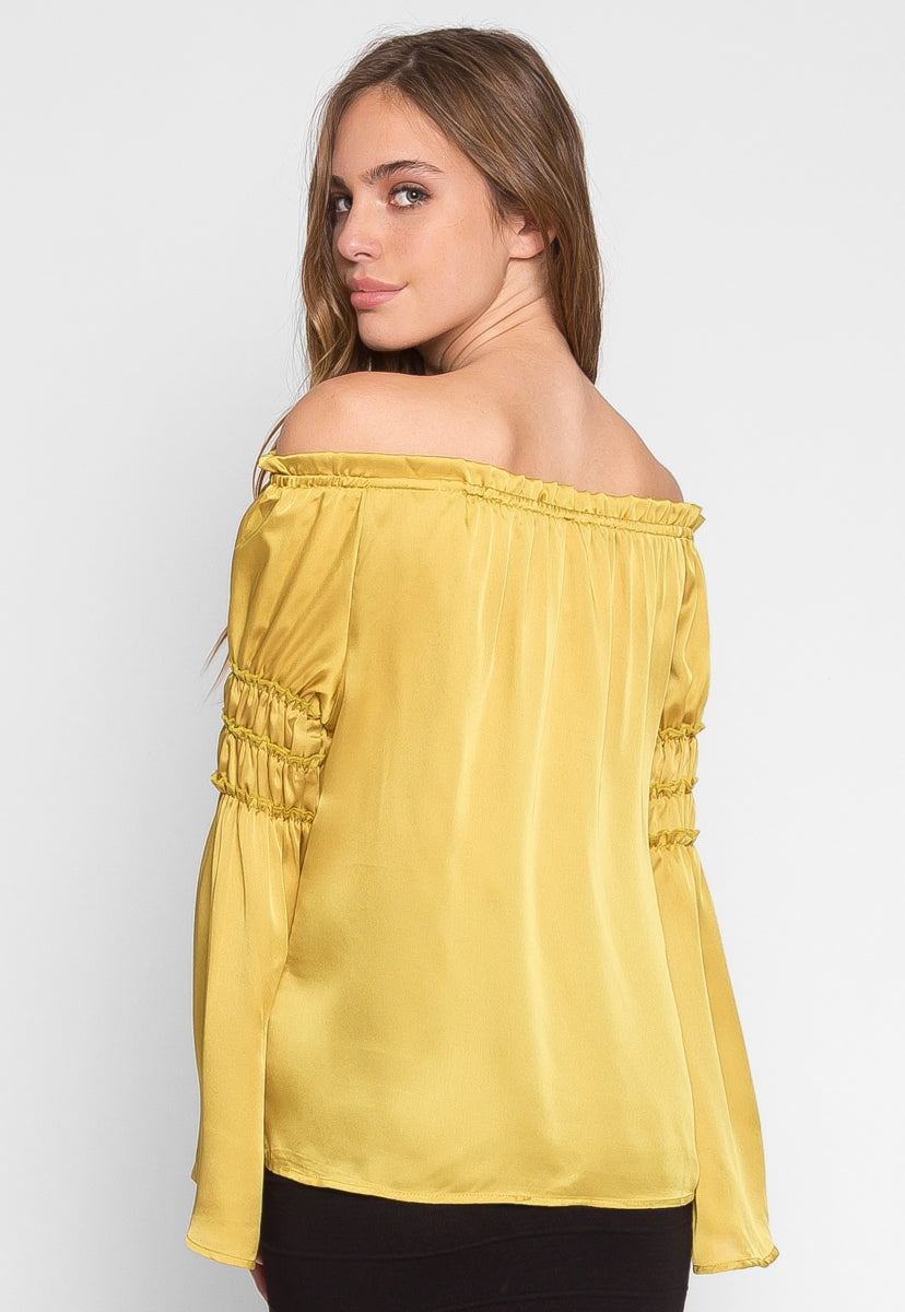 Long Sleeve Off Shoulder Satin Top in Yellow - Shirts & Blouses - Wetseal