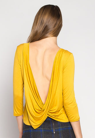 Popsicle Open Back Knit Top in Yellow