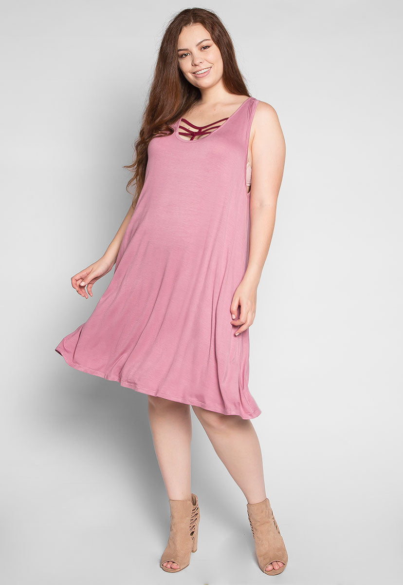 Plus Size Love Stories Tank Dress in Pink - Plus Dresses - Wetseal