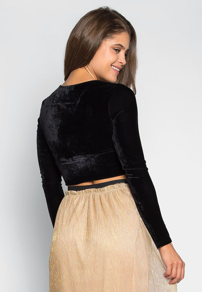 Skyline Crop Velvet Top in Black - Shirts & Blouses - Wetseal
