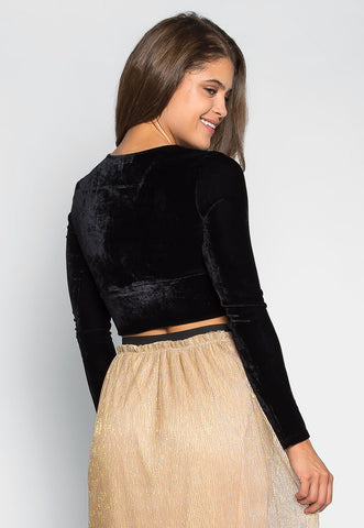 Skyline Crop Velvet Top in Black
