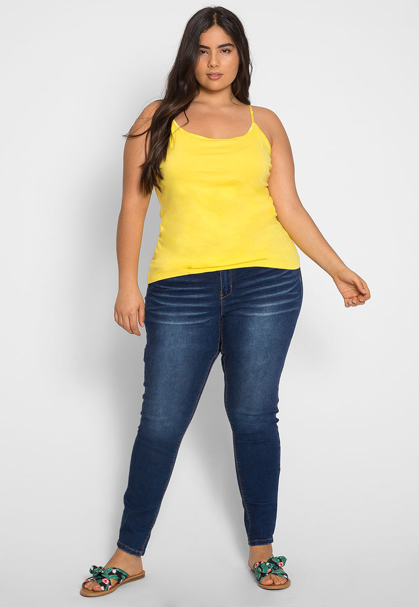 Plus Size Cali Basic Cami Top in Yellow - Plus Tops - Wetseal