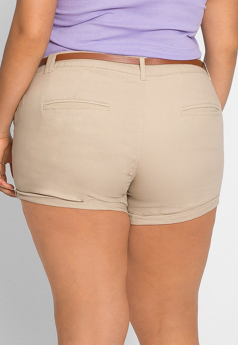 Plus Size Linen Belted Shorts - Plus Bottoms - Wetseal