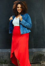 Plus Size Sultry Wrap Skirt in Red